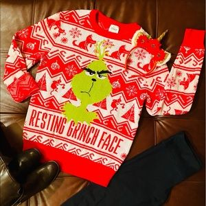 Resting Grinch Face Ugly Christmas Sweater M NWOT